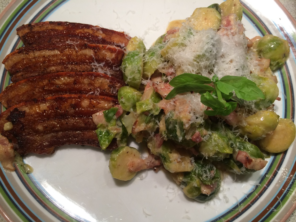 Fried pork belly & brussel sprouts a la creme
