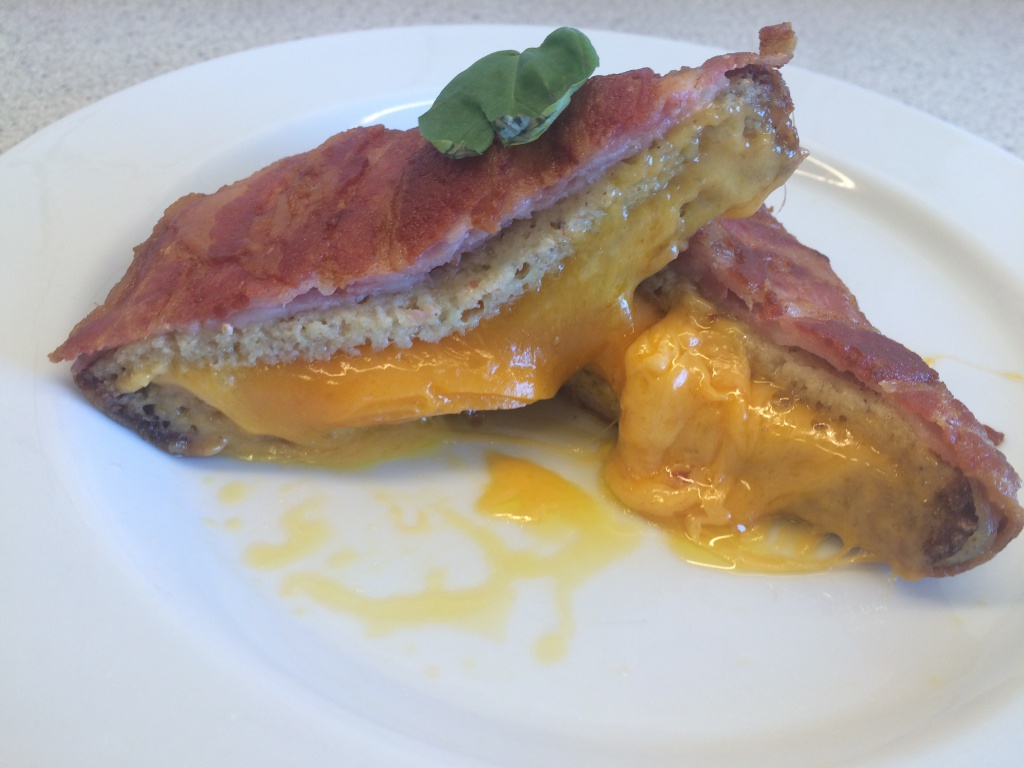 Bacon wrapped cheese sandwich